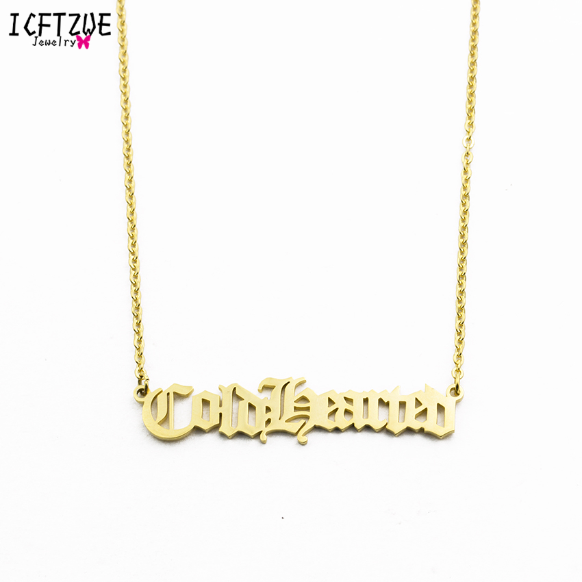 Custom Jewelry Gold Chain Old English Name Necklaces