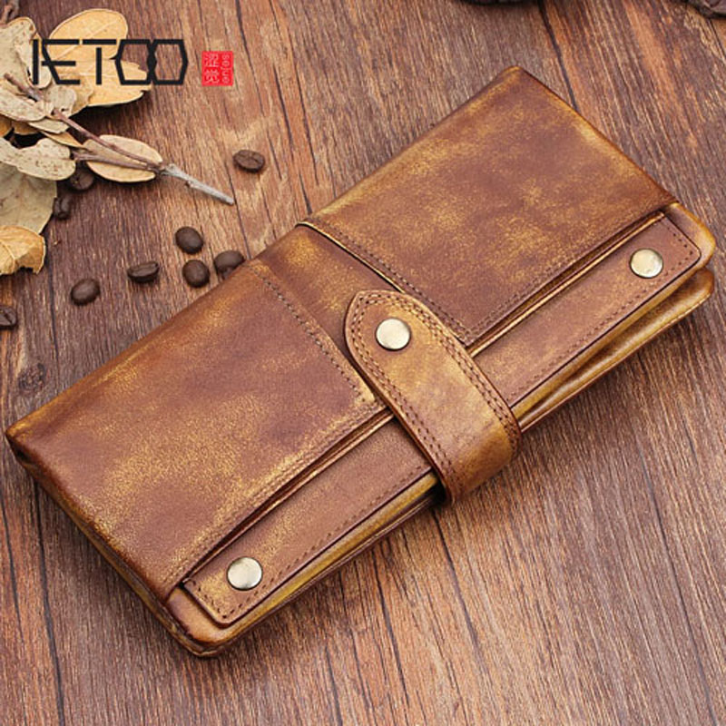 AETOO Original cowhide leather handbags for men and women long buckle multi-card bit multi-purpose hand young ethnic Vintage