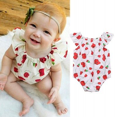 2017 New Floral Infant Baby Girl Clothes Romper Jumpsuit Sunsuit Oufits floral newborn baby girl kids sleeveless flower romper jumpsuit backless cotton sunsuit outfits