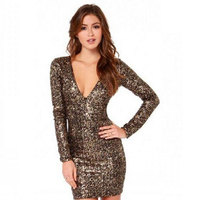 Girl 2017 Autumn Gold Sequin Dress Bodycon Short Women Long Sleeve Mini Dress Sexy Club Wear