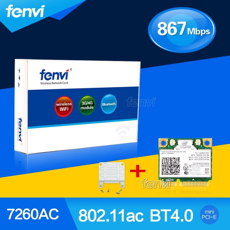 Fenvi Wlan Wireless Adapter For Intel Dual band 7260AC 7260HMW 802.11ac 867Mbps Wifi Bluetooth 4.0 +Screwdriver+Bracket Adapter
