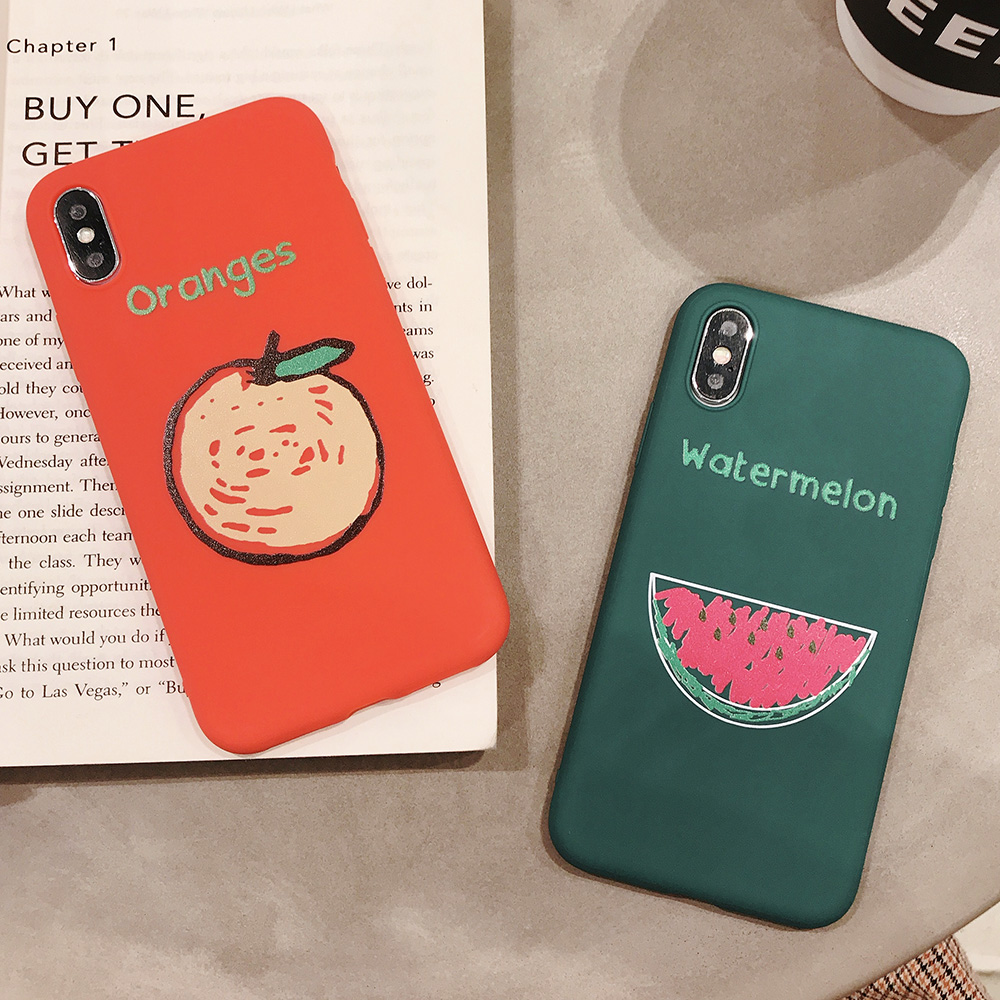 KIPX1090_8_JONSNOW Phone Case for iPhone XR XS Max 6S 7 8 Plus Embossed Fruit Style Lemon Watermelon Strawberry Patterns Soft Silicone Cover