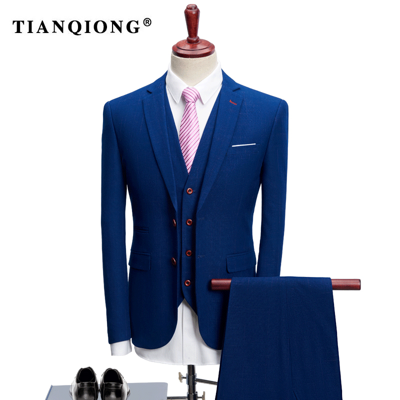 Здесь продается  TIAN QIONG 2018 Business Men Suits for Wedding Party Suit Slim Fit for Men Notch Lapel 3 Pieces Mens Suits (Jacket+Vest+Pants )  Одежда и аксессуары