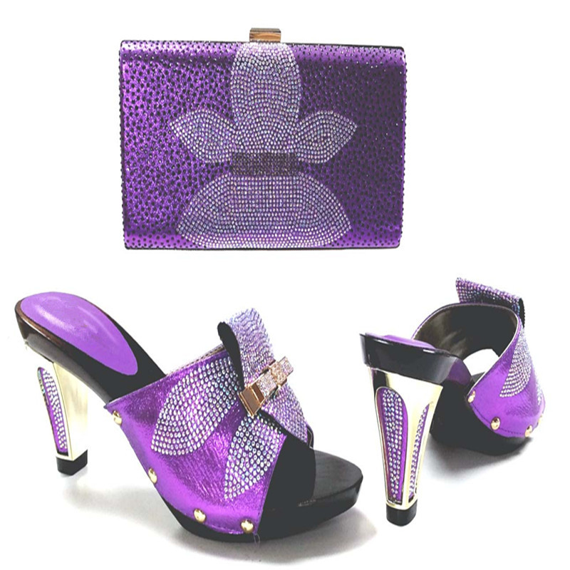 Purple Color Women High Heels Pumps African Shoes And Matching Bags Italian Italy Shoe And Bag Set To Match For Party TYS17-30 mf012 african shoes and bag set for nigeria lady black color italian style fashion italy shoe and bag to matching party