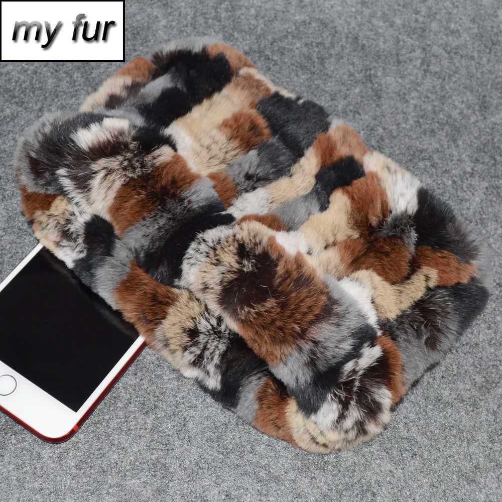 2019 ホット販売女性リアルファーリングスカーフニット純正レックスウサギの毛皮のヘッドバンド弾性暖かいソフトレックスウサギの毛皮スカーフスカーフ