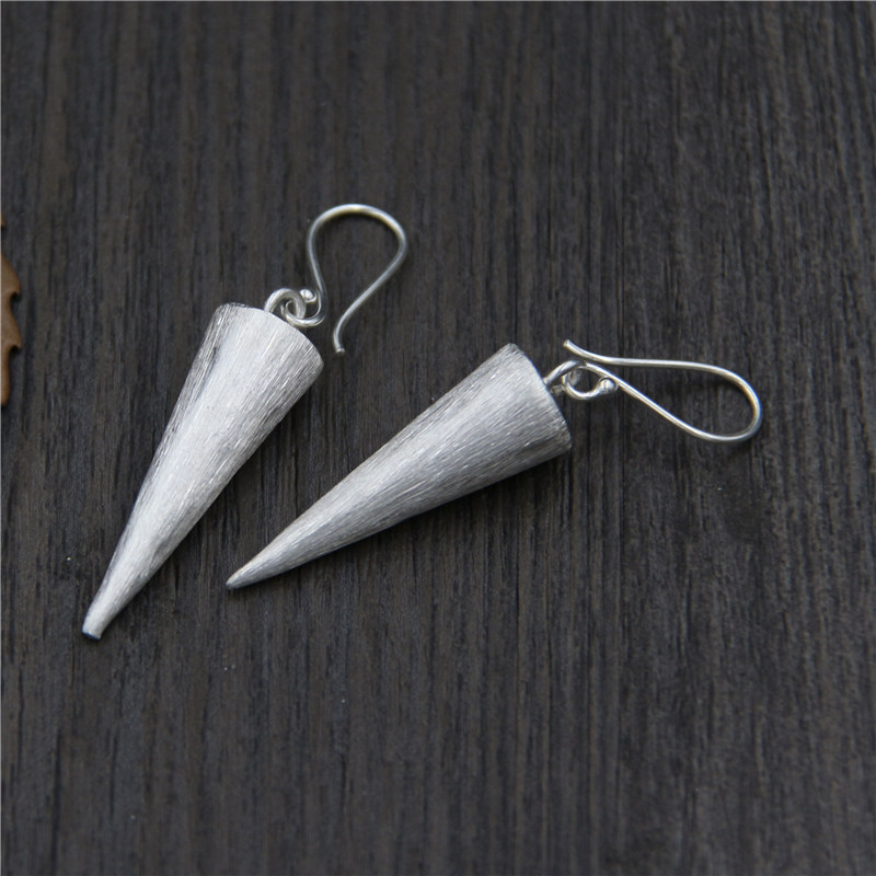 C&R Real 925 Sterling Silver Earrings for Women Conical Brushed Surface Thai Silver Drop Earrings Handmade Fine Jewelry