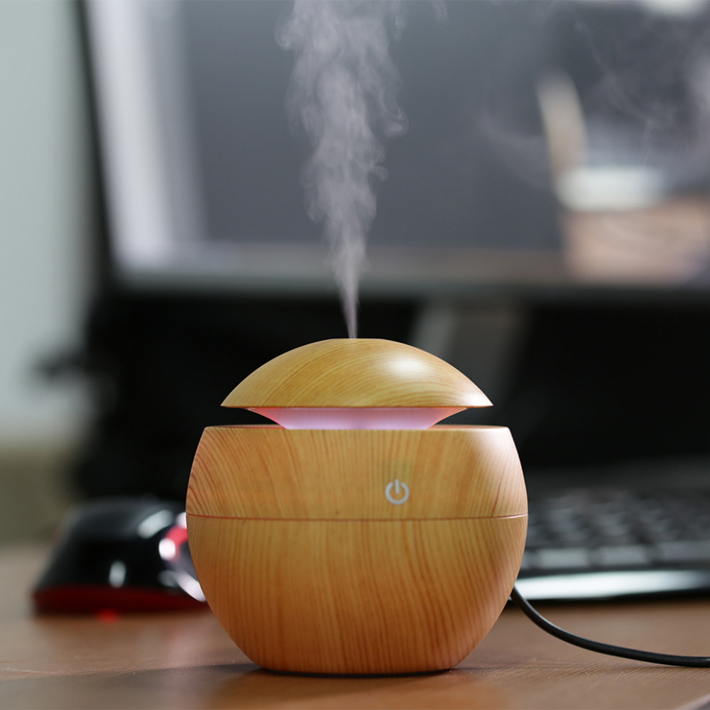 Mini Portable USB Wooden Aromatherapy Air Humidifier Ultrasonic LED Light Essential Oil Aroma Diffuser Home Office Mist Maker 130ml usb mini wooden ultrasonic aromatherapy humidifier portable mist maker led light dc 5v aroma diffuser air purifier