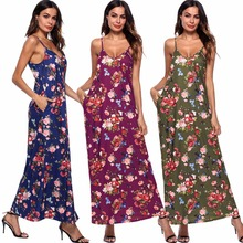 Summer new hot South American V-neck strap sexy print fashion personality pocket women dress