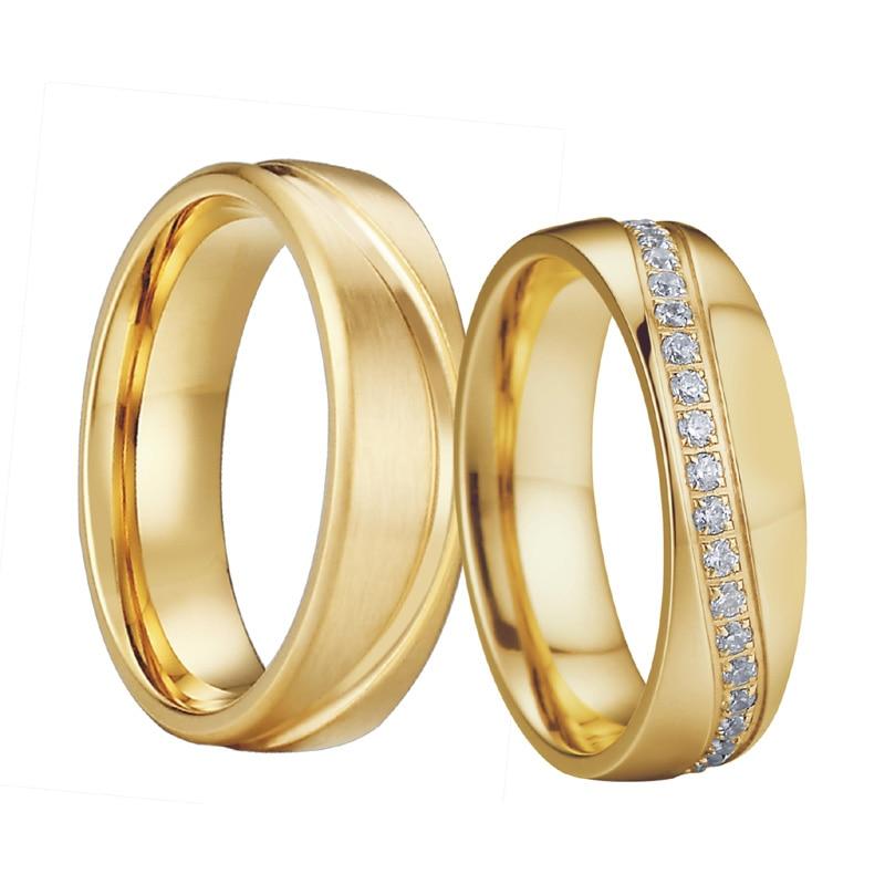 c3e206c146a1 Alianza nupcial aniversario boda banda hombres joyería oro color eternidad  Zirconia cúbica compromiso pareja anillos para mujeres