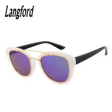 Langford brand cat eye sunglasses polarized Fashion woman prescription sunglasses Retro UV400 Double Bridge optical white 9737