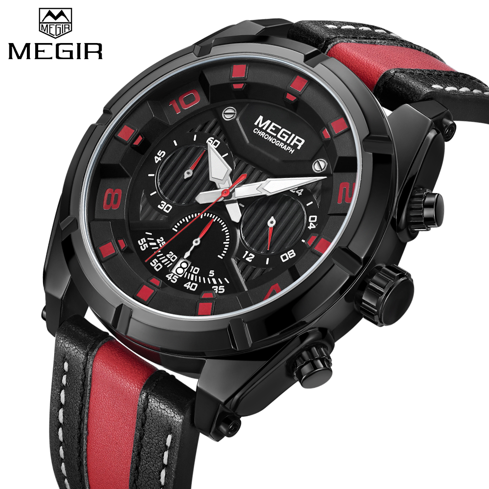 New MEGIR Military Sport Men Watches Creative Leather Strap Chronograph Calendar Dial Top Brand Fashion Men Quartz Wrist Watches все цены