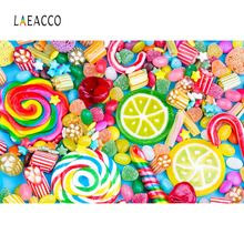 Laeacco Vinyl Backdrops Candy Bar Colorful Lollipops Dessert Baby Birthday Party Portrait Photographic Backgrounds Photo Studio