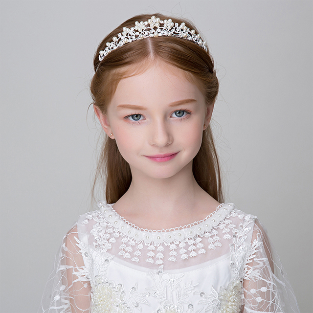 Rhinestone Simulated Pearl Crown Tiara Flower Girls Princess Headband Wedding Party Headpiece Ornaments Teen Girl Birthday