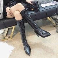 Ho Heave/женские ботинки 2019 г. модная новая стильная обувь с острым носком на квадратном каблуке женские сапоги до колена в западном стиле попул