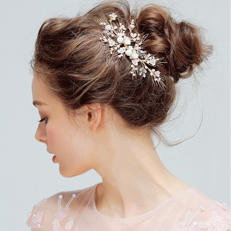Wedding Hair Accessories Clips Romantic Pearl Flower HairPins High quality Rhinestone Tiara Bridal Bride Hair Fine Jewelry high quality big rose flowers ribbon banana hair clips for women fashion hair flower barrette girls hair accessories 2 colors