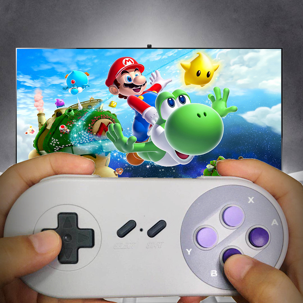 SONGFINN Wireless Bluetooth Controller Gaming Joypad Joystick for mini 2017 SNES Classic Edition for 16 bit 46 pin Game Console