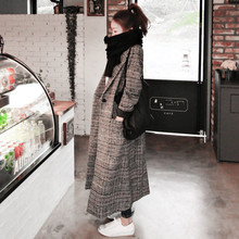 Woman Autumn Plaid Long Coat Fashion Turn-down Collar Long S