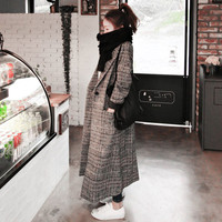 Woman Autumn Plaid Long Coat Fashion Turn down Collar Long Sleeve Straight Trench Coats Plus Size XXL