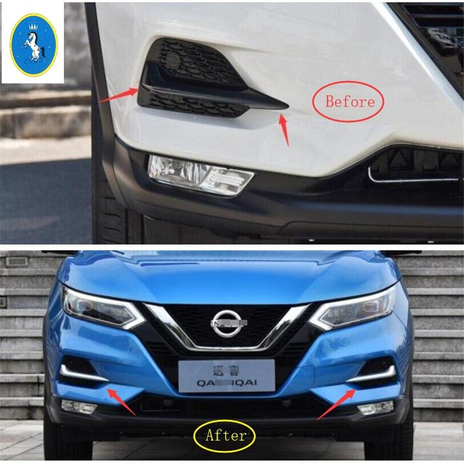 Yimaautotrims Auto accessoire avant antibrouillard lampe paupière sourcil couverture garniture Chrome adapté pour Nissan Qashqai J11 2018 2019 ABS