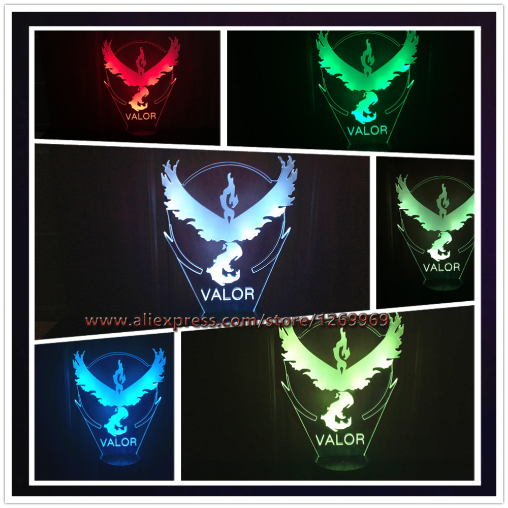 Lava lamp visualizer - 2016 New Style Led Night Light Pokemon Go Collection Team Valor Team 3d Visual Table 7 Color Changing Lamp Toys Child Best Gifts