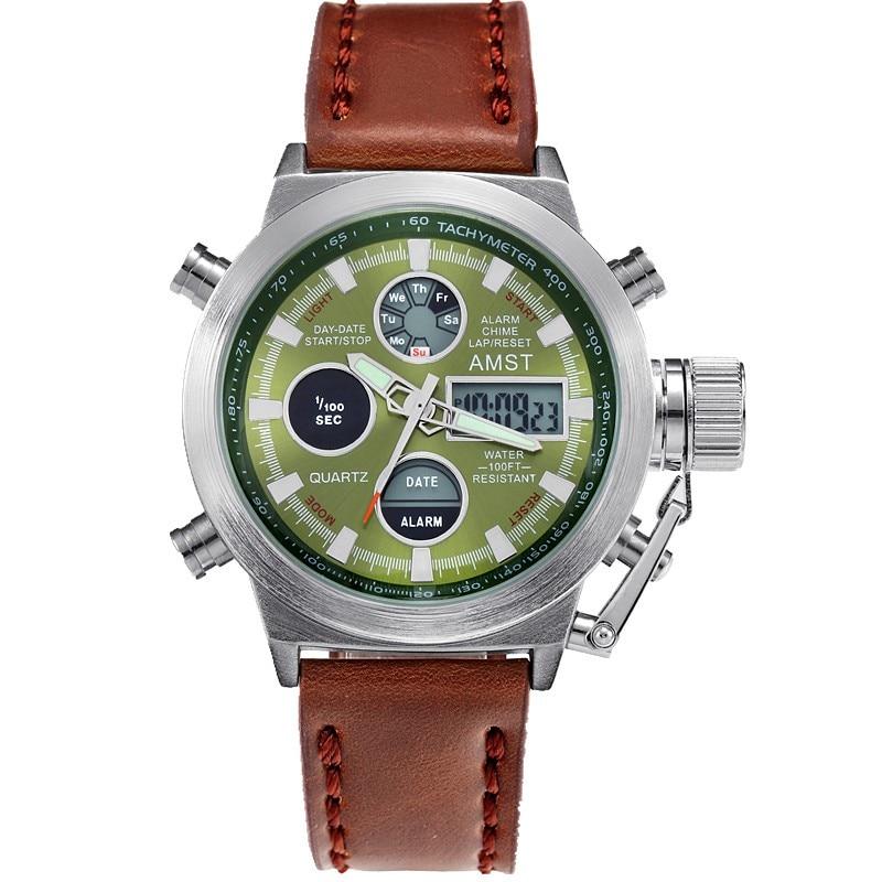 AMST Relojes militares Dive 50M Nylon y correa de cuero Relojes LED - Relojes para hombres - foto 3