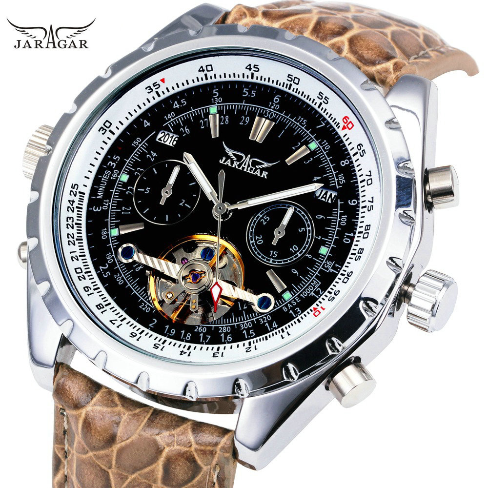 New Aviator Men Automatic Mechanical Wrist Watch Genuine Python Pattern Leather Tourbillion Roman Number Calendar Sub Dial + BOX winner men posh mechanical wrist watch leather strap tourbillion sub dial roman number crystal skeleton dial montre homme box