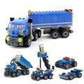 163 pcsTransport Quatro tipos de mudanças Caminhões Modelo Educacional Montagem Brinquedos Blocos Partículas Pequenas de Construção Kits RT026