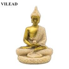 VILEAD 3.1 Nature Sandstone Gold Buddha Statuettes Thailand Fengshui Figurine Meditation Sculpture Miniatures Decoracion Hogar