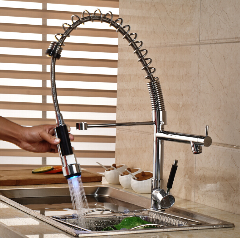 LED Light Dual Spout Hot Cold Water Kitchen Faucet Single Handle Pull Down Spring Kitchen Mixer Taps