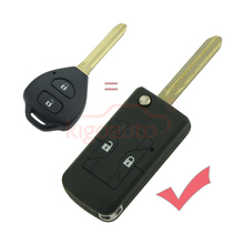 For Toyota Corolla refit Flip Remote Key Shell 2 Button TOY43 Uncut Blade modified car key Fob Case kigoauto dandkey 2 buttons remote key fob shell uncut blade key case replacement cover for toyota yaris with rubber pad