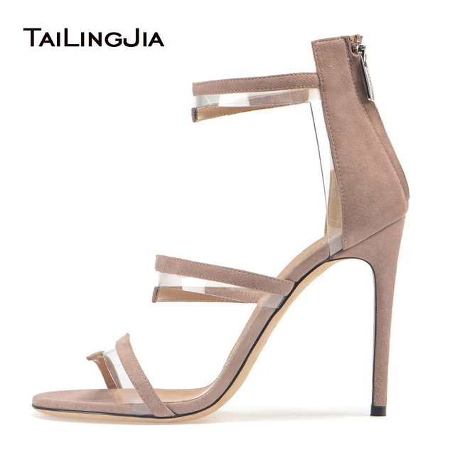 Purple With Sandals Sliver Black Women Summer Heels Dress High Heeled Shoes Strappy Stiletto Zipper Us53 pvc 09 In Nude Plexi Ladies 10Off VpSUzGqM