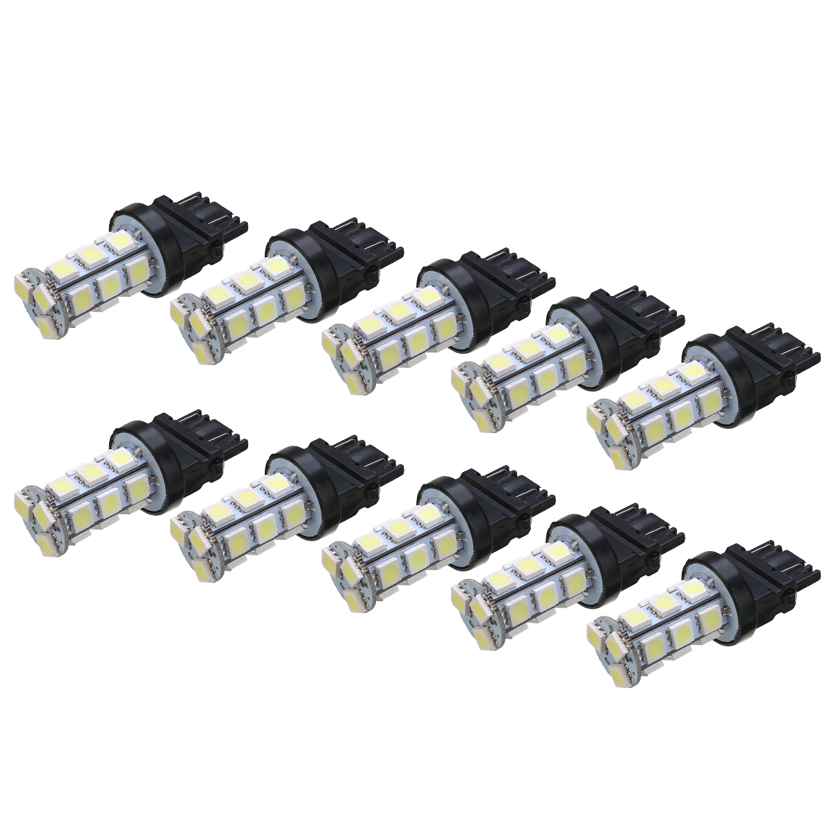 10Pcs/set 3157 18SMD 12V 6000K White Car Tail Brake Stop Backup Reverse Turn Signal Light Bulb Universal