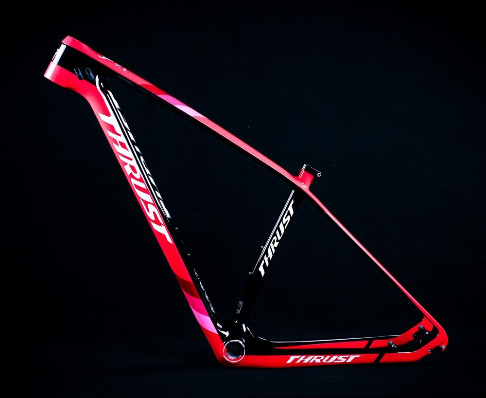 THRUST Bicycle Frame 29er 27.5er Mountain Bike Carbon Frame Size 15 17 19 BSA BB30 Disc Brake Tapered Carbon mtb Frame UD Black цена 2017