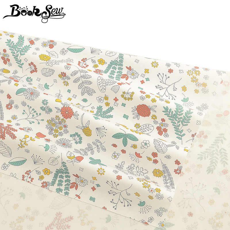 Booksew الأبيض النسيجة Algodon حك خليط الخياطة اللباس المواد أنقرة 100% نسيج القطن الأزهار المطبوعة DIY Tissu الستار