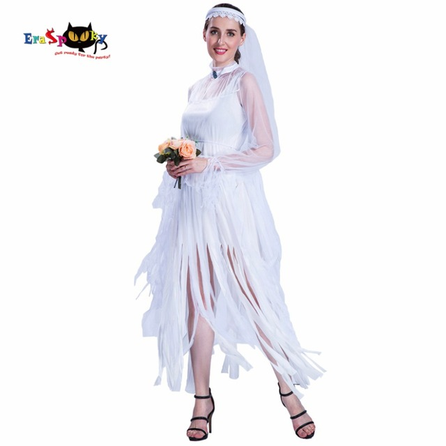 Halloween Costume Women Vampire Bride White Wedding Party Costume