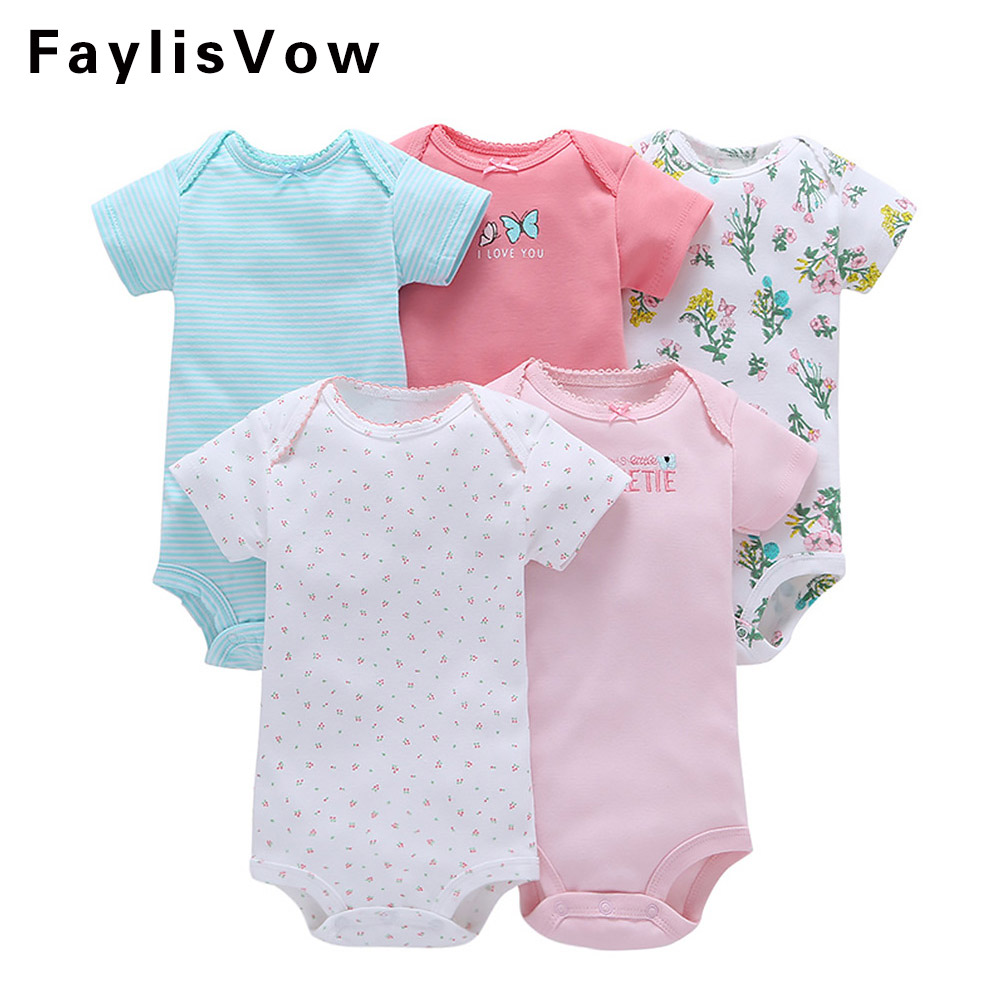 5 Pcs Baby Summer Rompers Suit Newborn Boy Girls Clothing Set Infant Jumpsuit Toddler Cotton Pajamas Tracksuit Baby Romper Set cute newborn baby kids girls lace floral jumpsuit romper outfit clothes infant toddler girl rompers summer pink lovely clothing