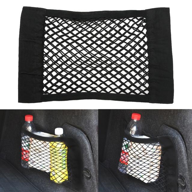 1Pcs Car Organizer Seat Back Storage Mesh Net Bag Strong Magic Tape 40cm x 25cm Luggage Holder Car Trunk Organizer Car Styling