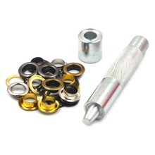 100pcs Metal 10mm Mix Colors Eyelets Buckle Scrapbook + 1pcs Punch Tool LeatherCraft DIY