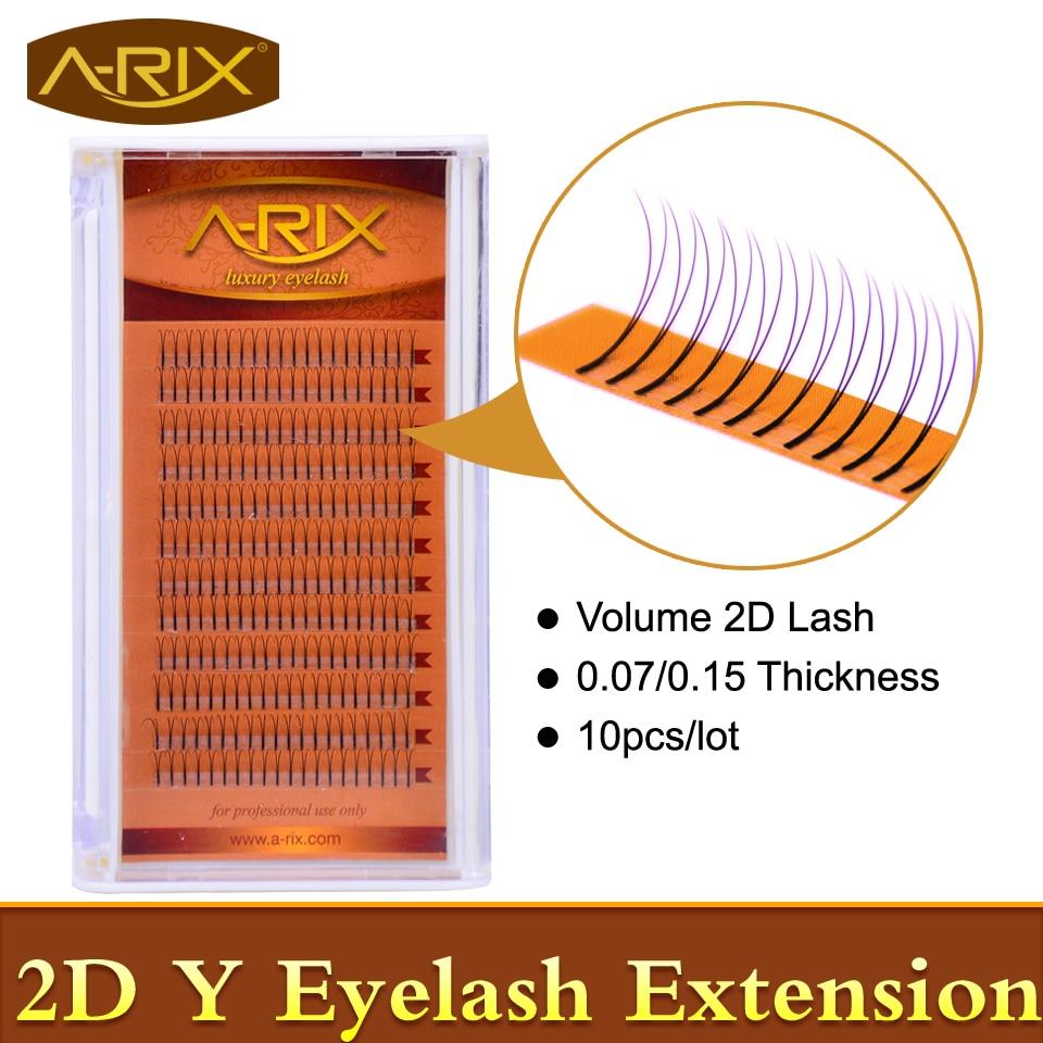 10 packs Volume Y 2D Cils Extension 0.07 0.15 Super Doux Faux Vison Cheveux Professionnel Maquillage Outils De Corée