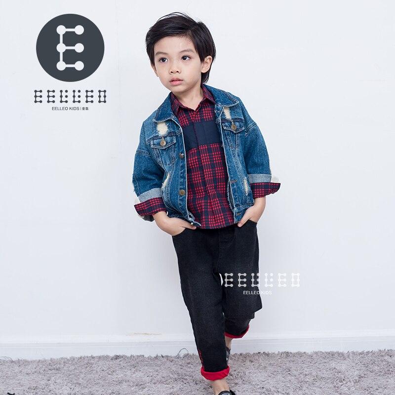 все цены на 2017 Autumn Winter Kids Clothing Set Boy Clothing Sets Children's Fashion 3PCS Suit Denim Jacket+Plaid Shirt +Jeans