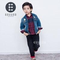 2017 Autumn Winter Kids Clothing Set Boy Clothing Sets Children's Fashion 3PCS Suit Denim Jacket+Plaid Shirt +Jeans