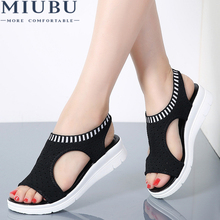 MIUBU Women Sandals 2019 New Female Shoes Woman Summer Wedge Comfortable Ladies Slip-on Flat Sandalias