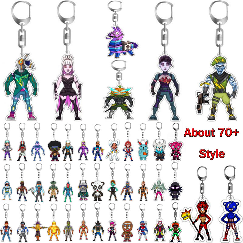 Keyring Pickaxe Action-Figure Night-Keychain Game Acrylic-Material Battle Royale Fort