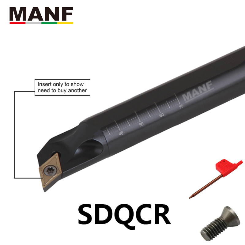 MANF 8mm10mm S16Q-SDQCR07 Turning Tool Boring Bar Cutting Toolholders Screw Clamping Hoders For DCMT07/11 Indexable Inserts