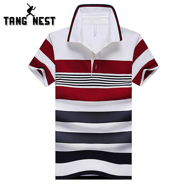 TANGNEST Men's Polo 2017 Summer Striped Red Classic Casual Turn-down Collar Polo Short-sleeve Male New Arrival Polo MTP290