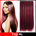 Women Hair Extensions Wine Red High Tempreture 60cm Long Natural Straight Synthetic Hair Clip In Hairpiece Woman Hairs Extension