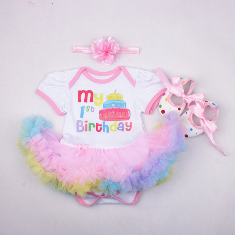 Christmas birthday gift baby girls boys short sleeve cartoon flag lace jumpers headband shoes set fashion infant clothes 17A801