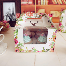 16*16*10cm 10 PCS  forest cupcake Paper Box with handle take out Food Packaging For Wedding Christmas Baby Shower Party Gift