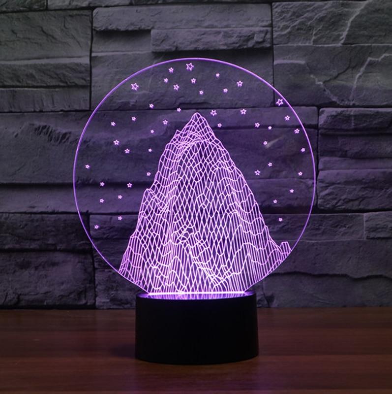 Snow Mountain Shape 3d Night Light Colorful 3d Acrylic Led Usb Table Lamp Holiday Deco Mood