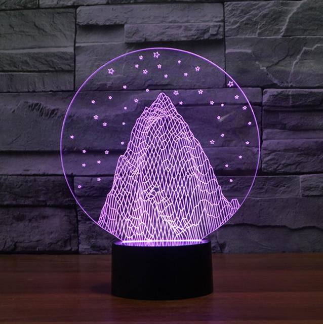 Snow mountain shape 3D night light,colorful 3D acrylic led ...